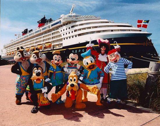 Image of Disney characters standing in front of ship