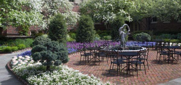 Image of fountain in flower garden