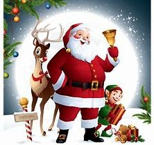 Image of Santa Claus with reindeer.