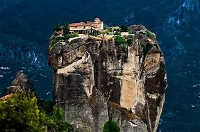 Image of the breathtaking tower perched Meteora Monastery.