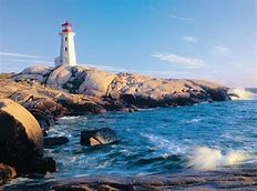 Image of Lighthouse along a coastline.