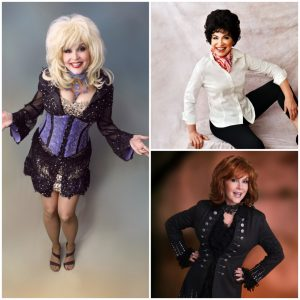Image of Dolly Parton, Reba McEntire, & Patsy Cline impersonators.