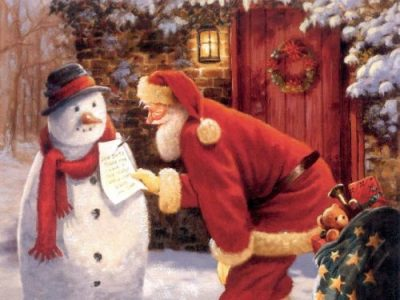 Image of Santa Claus and Snowman