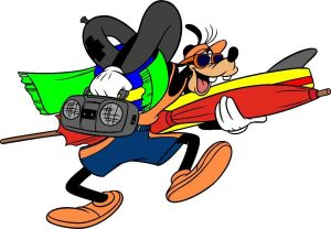Image of Goofy carrying surfboard.