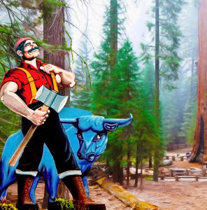 Image of Paul Bunyan and Babe the Blue Ox.